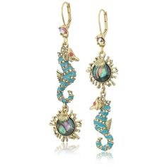 Betsey Johnson The Sea and Faceted Stone Mismatch Double-Drop Earrings ($36) ❤ liked on Polyvore featuring jewelry, earrings, plastic post earrings, earring charms, betsey johnson jewelry, post back earring and fake jewelry