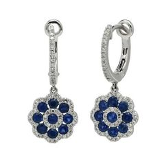 995b739b9 Sapphire Dangle Earrings in 14kt White Gold with Diamonds (1/3ct tw)