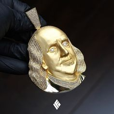 Custom 14K Yellow Gold XL-sized Benjamin Franklin Piece Iced Out To Detail. Specially made for @younglavishboss  #BenFranklin #CustomJewelry #IFANDCO