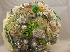 Custom Order Brooch Bridal Bouquet is so incredibly beautiful. Wondering if I can get this incorporated into my home somehow since I'm not having a wedding.... by nicolasacicero on Etsy, via Etsy.