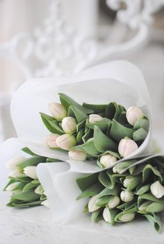 White tulips - so minimal, and perfect for a dining room table. : )