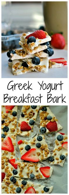 Greek Yogurt Breakfast Bark is a power-packed treat! Just 5 ingredients is all i. Greek Yogurt Breakfast Bark is a power-packed treat! Just 5 ingredients is all it takes to make this on-the-go b. Healthy Desayunos, Healthy Treats, Healthy Eating, Healthy Homemade Snacks, Easy Healthy Meals, Healthy Snaks, Homemade Bar, Healthy Candy, Think Food