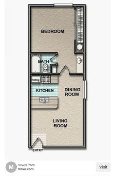 Little House Plans, Small House Floor Plans, Cabin Floor Plans, Little Houses, Tiny Houses, Tiny House Cabin, Tiny House Living, One Bedroom House, Mobile Home Floor Plans