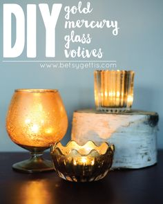 DIY Gold Mercury Glass // Step-by-step instructions on how to create your own faux mercury glass votives  #DIY #crafts #mercuryglass #votives #wedding #gold