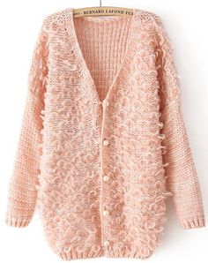 Pink V Neck Long Sleeve Shaggy Cardigan US$31.64