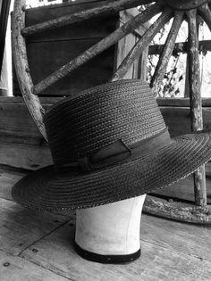 d1888eca Black Amish Straw Hat - Authentic Summer Black Straw Wide Brim Fedora -  Size 7 Long