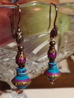 """2 1/4"""" Moroccan Dangle Earrings, Belly Dancer,Tribal, Hot Pink, Turquoise and Copper,  Colorful, Handmade Exquisite Copper Ear Wires by NEWFACED on Etsy"""