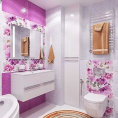 25 Small Toilet Concepts That Will Make A Enormous Influence Gray Bathroom Walls, Purple Bathrooms, Bathroom Flooring, Bathroom Furniture, Bathroom Interior, Modern Sink, Modern Bathroom, Shelves Over Toilet, Small Toilet