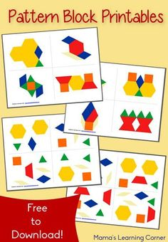 Free Pattern Block Printables - activity cards available in 2 different learning levels - pinned by – Please Visit for all our ped therapy, school & special ed pinsFREE Pattern Block Printables are a great early math activity for toddler, preschool, pre Free Preschool, Preschool Printables, Preschool Learning, Kindergarten Math, Teaching Math, Toddler Preschool, Free Printables, Free Pattern Block Printables, Pattern Worksheet
