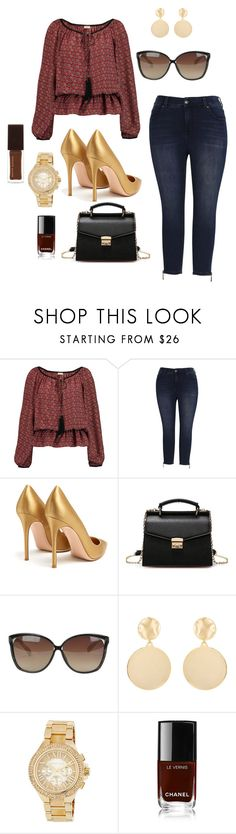 """""""Untitled #828"""" by stylemirror ❤ liked on Polyvore featuring Talitha, Melissa McCarthy Seven7, Gianvito Rossi, Linda Farrow, Mounser, MICHAEL Michael Kors, Chanel, Kevyn Aucoin and plus size clothing"""
