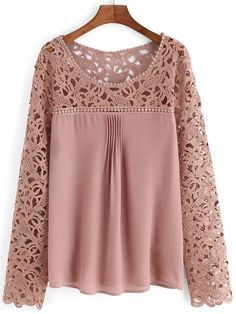 SheIn offers Pink Scoop Neck Lace Splicing Chiffon Blouse & more to fit your fashionable needs. Kurta Designs, Blouse Designs, Lace Tops, Chiffon Tops, Lace Chiffon, Brown Long Sleeve Shirt, Fashion Clothes, Fashion Outfits, Mode Inspiration