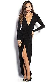 """Irene"" Black Long Sleeve Maxi Dress with Plunging Neckline"