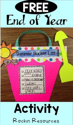 Bucket List Activity Fun craft activity for the end of the year. Create a summer bucket list!Fun craft activity for the end of the year. Create a summer bucket list! Kindergarten Graduation, Kindergarten Writing, Kindergarten Activities, Classroom Activities, Craft Activities, Classroom Ideas, Literacy, Indoor Activities, Online Classroom