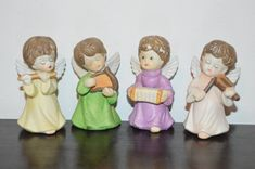 4 angel figurines Christmas figurines Christmas decor decoration holiday figurines angels playing instruments flute harp accordion violin