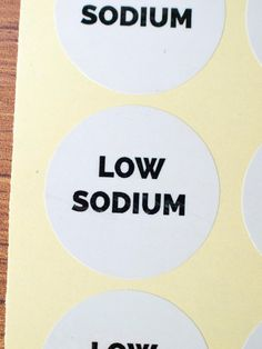 low sodium sticker white paper black ink by ctdscraftsupply Food Stickers, White Paper, Ink, Handmade Gifts, Etsy, Black, Kid Craft Gifts, Black People, Craft Gifts