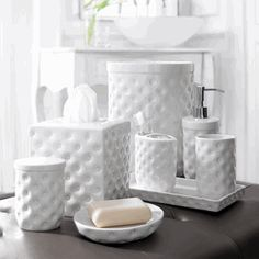Luxury Hotel Bathroom Set: Dimpled Porcelain * High Quality Design * Hotel Contract Orders Only * Request Quote