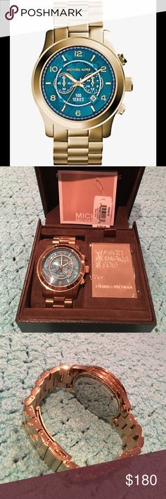 Michael Kors Oversized Runway Gold-Tone Watch MK Watch Hunger Stop Oversized Runway Gold-Tone Stainless Steel Watch. • Style# MK8315 • 48mm Case • Water Resistant Up Yo 10ATM • Each Watch provides 100 meals to a child in need • Includes booklet and Case • Amazing condition if you need any more pictures please let me know. Michael Kors Accessories Watches