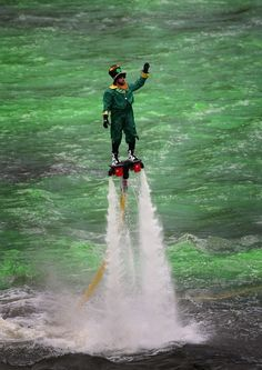 Why St. Patrick's Day in Chicago is basically the best — See: A leprechaun jetting over the water like Iron Man.