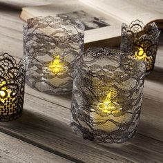 Decoupage - DIY Lace Votive Candle Holders for Halloween Party Decor