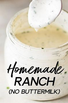This homemade ranch dressing recipe is fast, easy to make, healthy, and tastes so much better than the store-bought variety. This recipe is made without buttermilk, so you don't have to worry about what to do with the rest! Ranch Salad Dressing, Homemade Ranch Dressing, Salad Dressing Recipes, Easy Ranch Dressing Recipe, Pioneer Woman Ranch Dressing, Restaurant Ranch Dressing, Sour Cream Salad Dressing, Outback Ranch Dressing, Best Ranch Dressing