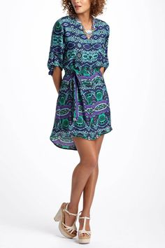 Anthropologie...Ikat Frequencies Shirtdress...Purple Motif; Also comes in Black & White, Blue Motif or Red Motif