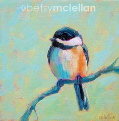 Chickadee Original Painting by betsymclellanstudio on Etsy, $35.00