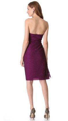 Magenta color, Lela Rose Side Ruched Strapless Dress