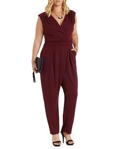 ef38fd9e932 Plus Size Sleeveless Wrap Jumpsuit  Charlotte Russe Red Jumpsuit