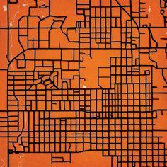 City Prints Map Art of Oklahoma State/Stillwater.