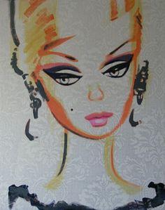 Retro Art, Vintage Art, Vintage Style, Barbie Room, Barbie Dolls, Stippling Drawing, Barbie Drawing, Face Illustration, Vintage Barbie Clothes