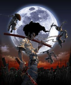 View an image titled 'Afro Illustration' in our Afro Samurai art gallery featuring official character designs, concept art, and promo pictures. Afro Samurai, Samurai Tattoo, Samurai Anime, Dope Cartoon Art, Cartoon Kunst, Samurai Wallpaper, Art Afro, Arte Hip Hop, Black Comics