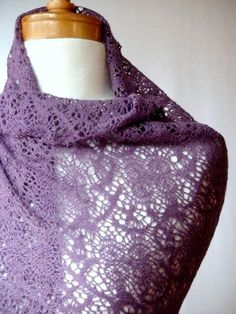Wool lace knit shawl scarf in Soft Plum  by econica  #knitted #shawl #afs collection