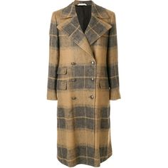 Tonello checked double breasted coat ($1,534) ❤ liked on Polyvore featuring outerwear, coats, grey, long sleeve coat, mid length coat, checked coat, brown double breasted coat and plaid coat