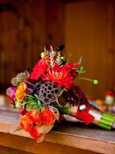 Wedding bouquet inspiration: dahlia, green, magenta, orange, ranun, red, rose, rustic, scabiosa pods, yellow, Washington County, Utah