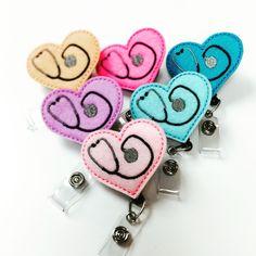 Stethoscope Hearts Felt Badge Reels Nurse Gifts Cute Badge Clips Nurse Badge Holders Medical Assistant CNA LPN RN Name Badge Clips Retractable Badge Holders by BadgeBlooms http://4anurse.com felt&order=date_