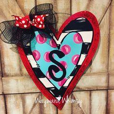 Valentine heart Wood Cut Out Door Hanger Valentine Heart, Valentine Crafts, Diy Arts And Crafts, Wood Crafts, Wooden Door Hangers, Cross Door Hangers, Wooden Hearts, Valentine Decorations, Wood Art