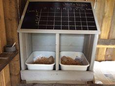 Pondoir fait à partir d'une armoire recyclée.  Peinture chalkboard pour le tableau.