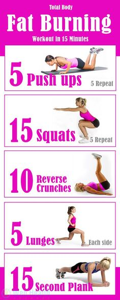 Total Body Fat Burning Workout in 15 Minutes Sounds impossible? Total body fat burning workout in just 15 minutes. Get slim with this simple fat burning workout plan. Belly Fat Workout, Tummy Workout, Belly Fat Reduce Exercise, Bikini Body Workout Plan, Workout Guide, Workout Plans, Workout Routines, Daily Routines, Exercise Schedule