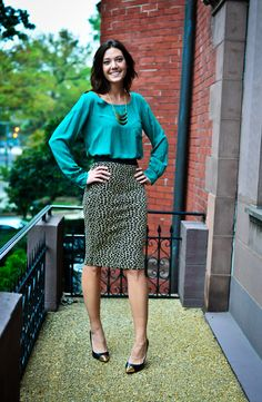 Splendid top, skirt, and triple hammered necklace from South Moon Under, and Chinese Laundry cap-toe pump.