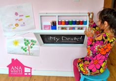 Ana White does it again. I desperately need to make a few of these for our playroom! Fold down art desk. Art Desk For Kids, Kid Desk, Diy For Kids, Gifts For Kids, Boys Desk, Fold Down Desk, Do It Yourself Furniture, Ideas Prácticas, Wall Desk