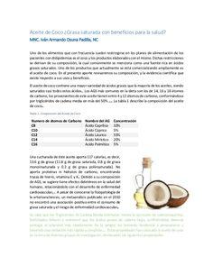 Aceite de Coco ¿Grasa saturada con beneficios para la salud? MNC. Iván Armando Osuna Padilla, NC Uno de los alimentos que ...