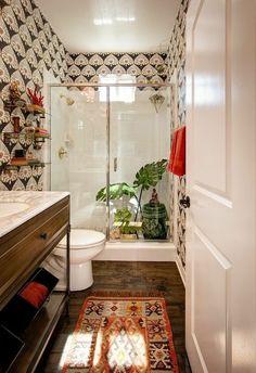 Boho Bathroom Oasis Banyo – Home Decoration Modern Bathroom Decor, Bathroom Interior, Small Bathroom, Bathroom Ideas, Bohemian Bathroom, Master Bathroom, Bathroom Plants, Bathroom Images, Bathroom Wallpaper