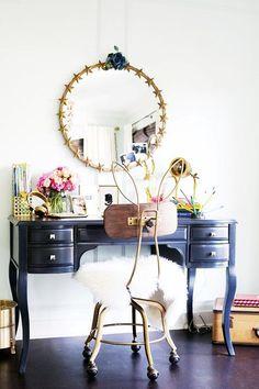 Jessica Alba - Fun girl's room work space features a black desk, The Emily + Meritt Lilac Desk, and The Emily + Meritt Bunny Ears Desk Chair placed under a gold stars mirror, Emily + Meritt Star Ring Mirror.