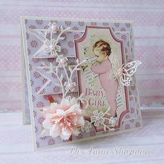 Baby Handmade Card, Baby Girl Card Handmade, Shabby Chic Baby Card
