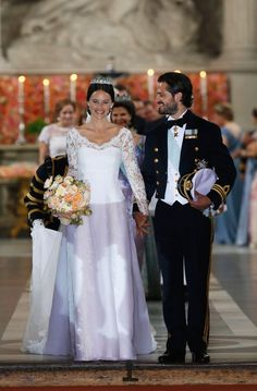 Walking Aisle: Prince Carl Philip of Sweden and his wife Princess Sofia of Sweden prepare to depart after their royal wedding