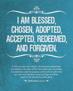 Blessed, Chosen, Adopted, Accepted, Redeemed & Forgiven.