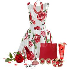 Red and White, created by diane-shelton on Polyvore