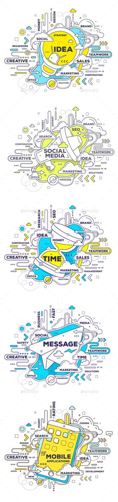 Collection of Creative Business Concept Illustrations with Tag Cloud