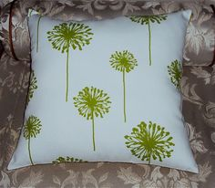 Lime Green Dandelion Fabric Pillow Cover