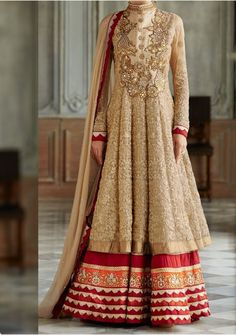 Kimora Golden Bollywood Designer heavy embroidered Anarkali Suit floor length